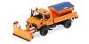 Unimog 1300L snowplough orange